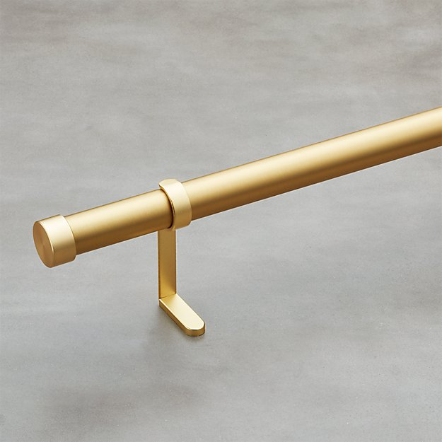 "Brushed Brass 1.25"" Curtain Rod Set - Image 1 of 4"