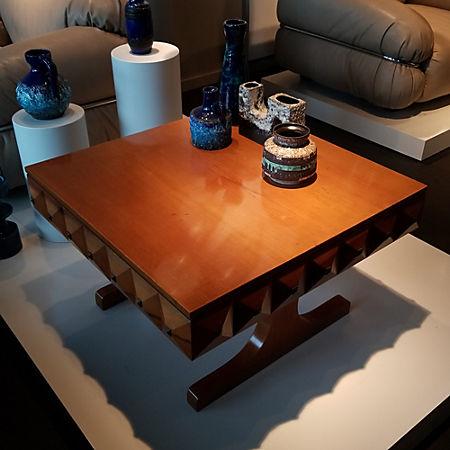 Guglielmo Ulrich Wood And Brass Coffee Table Cb2
