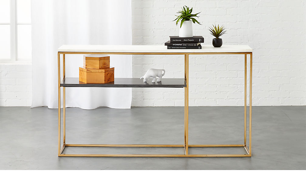 Tone Grey And White Marble Console Reviews CB - Cb2 sofa table