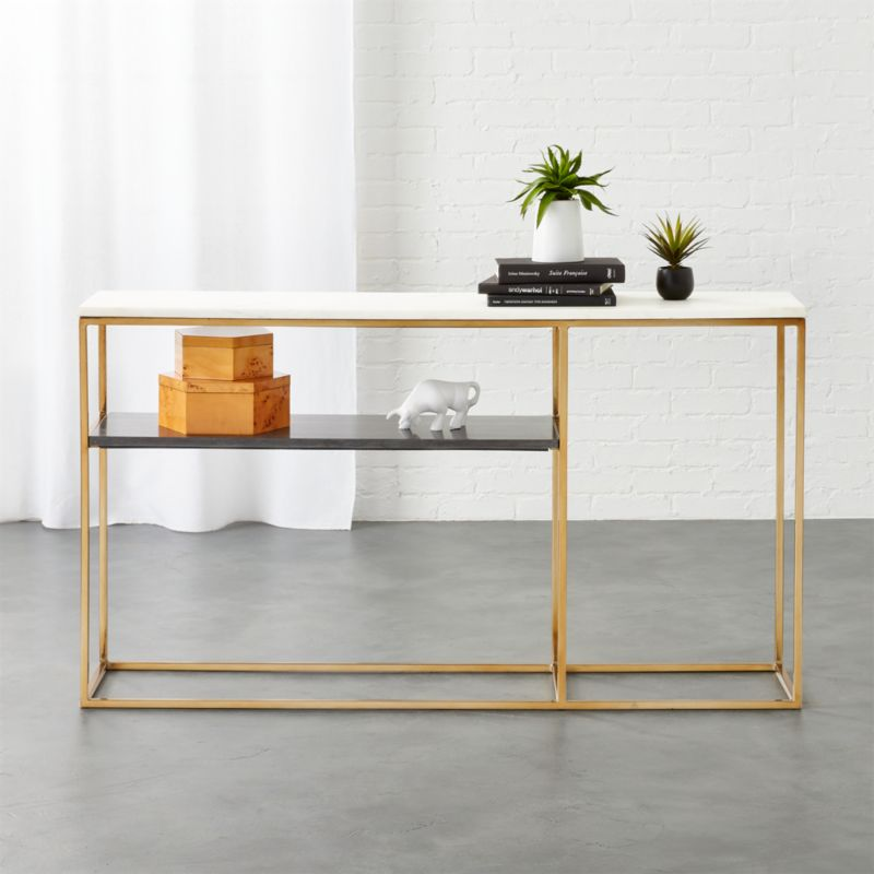 Narrow Rectangular Brass And Marble Coffee Table By Edward: Marble Tables