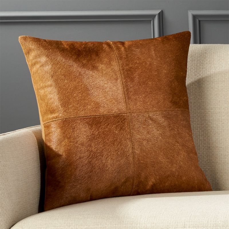 18 Quot Abele Brown Cowhide Pillow Cb2
