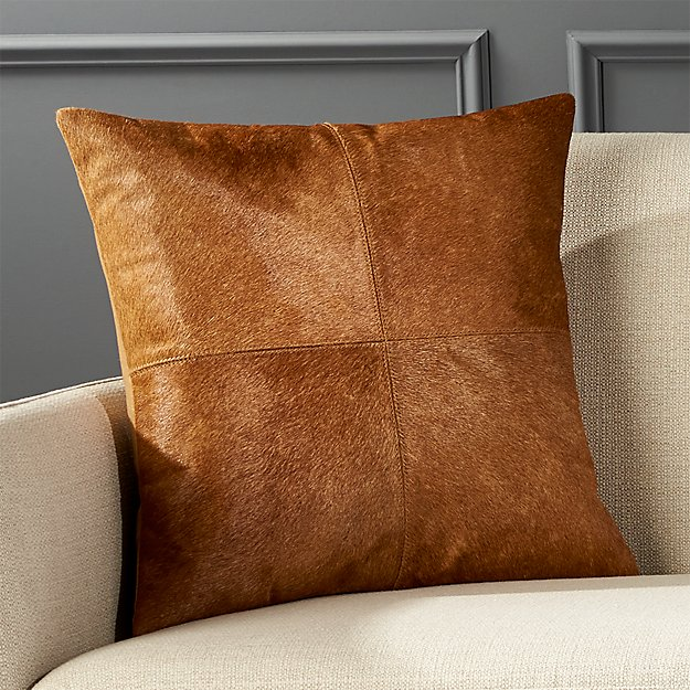 """18"""" Abele Brown Cowhide Pillow - Image 1 of 6"""