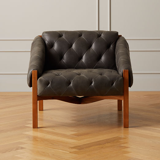 Abruzzo Black Leather Tufted Chair with Brown Legs