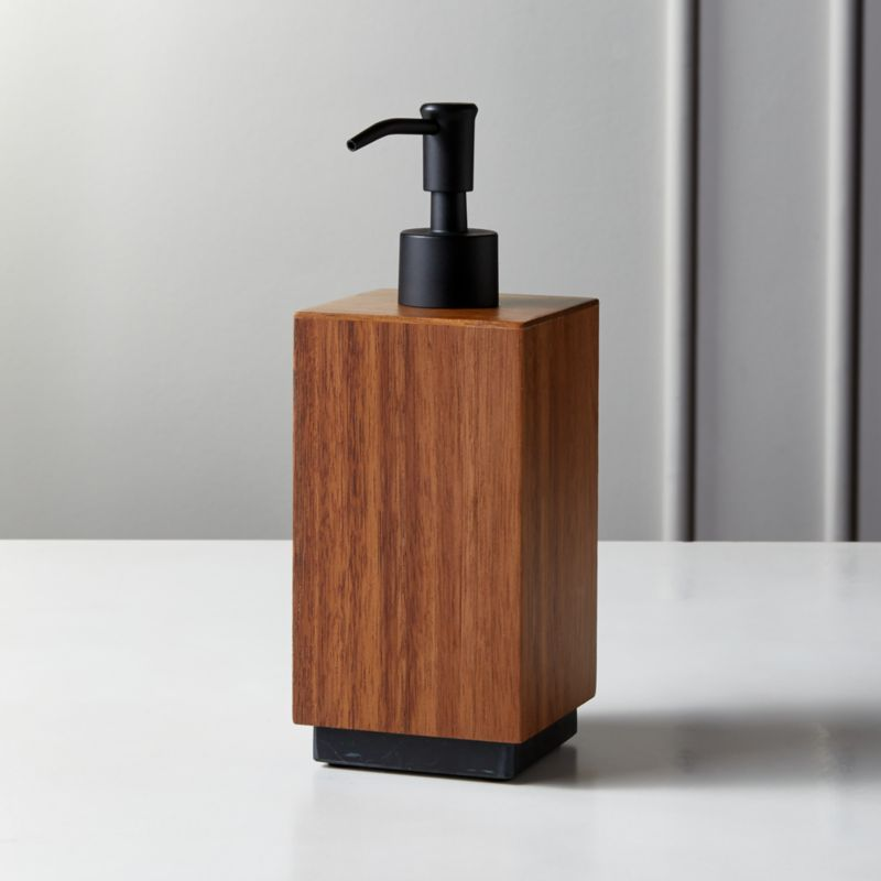 Acacia And Black Marble Soap Pump by Crate&Barrel