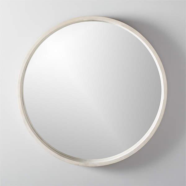 Acacia White Wash Round Mirror 40, 40 Round Mirror