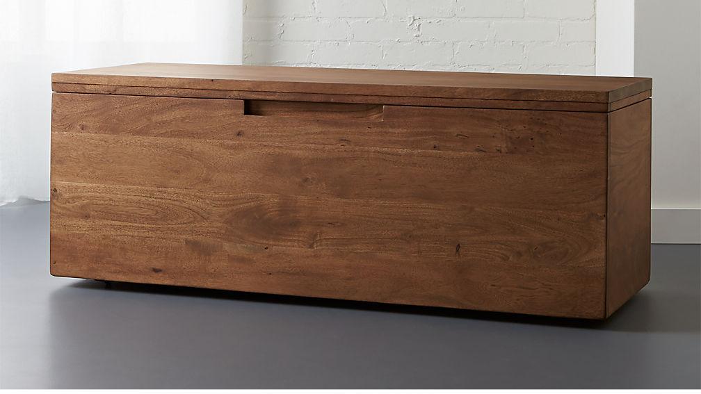 Acacia Wood Storage Bench Reviews Cb2