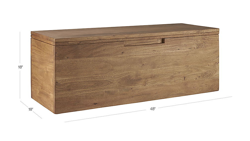 Image with dimension for acacia storage bench