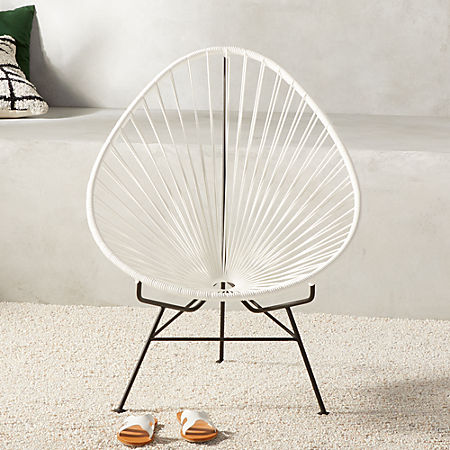 Acapulco White Egg Outdoor Chair Cb2