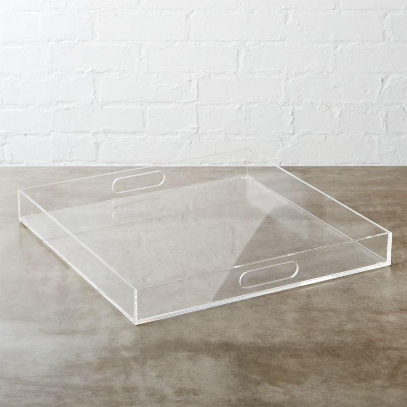Acrylic Clear Square Tray Reviews Cb2
