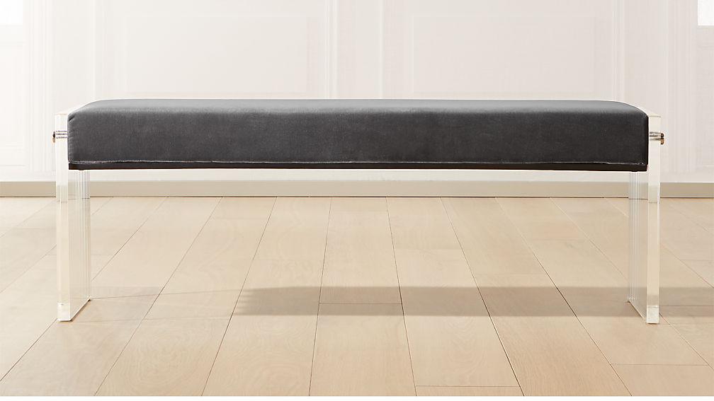 Acrylic Dark Grey Velvet Bench - Image 1 of 8