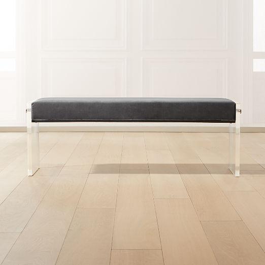 Acrylic Dark Grey Velvet Bench
