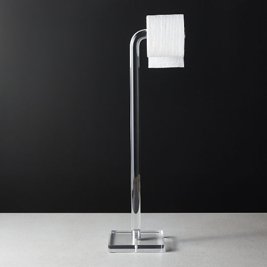Acrylic and Polished Nickel Free Standing Toilet Paper Holder