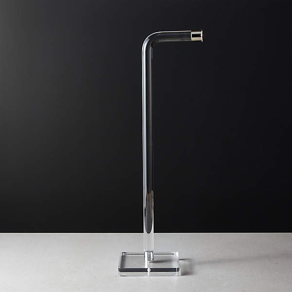 Acrylic And Polished Nickel Free Standing Toilet Paper Holder Reviews Cb2
