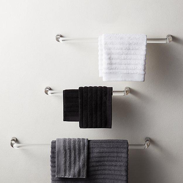 Acrylic and Polished Nickel Towel Bars - Image 1 of 11