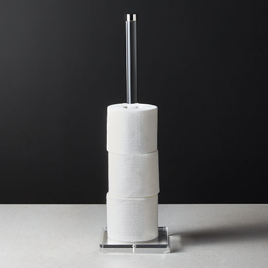 Acrylic and Polished Nickel Toilet Paper Storage Tower
