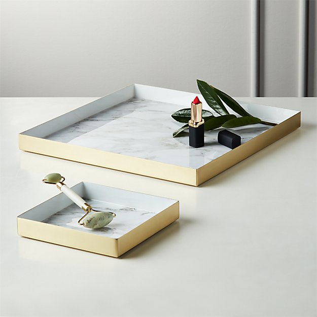 Active White Marble Trays - Image 1 of 7