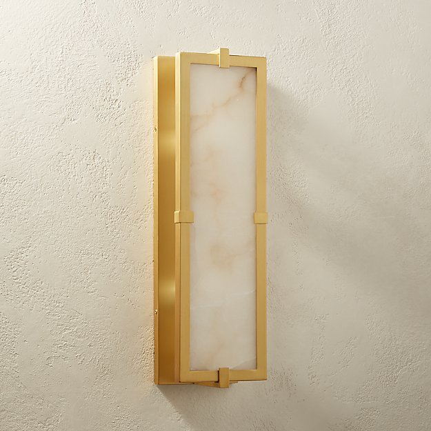 Alabaster Single Plate Brass Sconce - Image 1 of 11