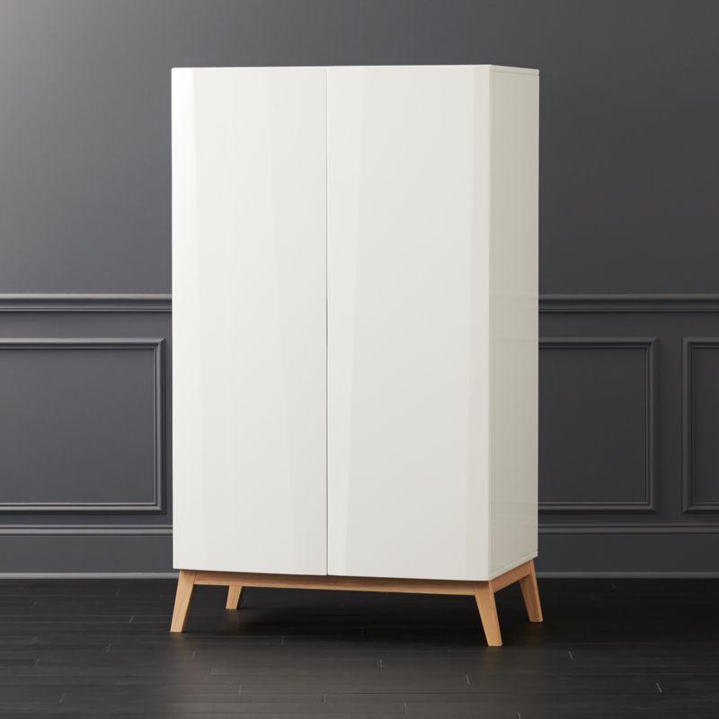 Laquer furniture High End Alba White Lacquer Wardrobe Cb2 White Lacquer Furniture Cb2