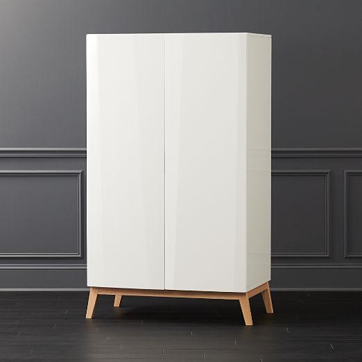 Alba White Lacquer Wardrobe