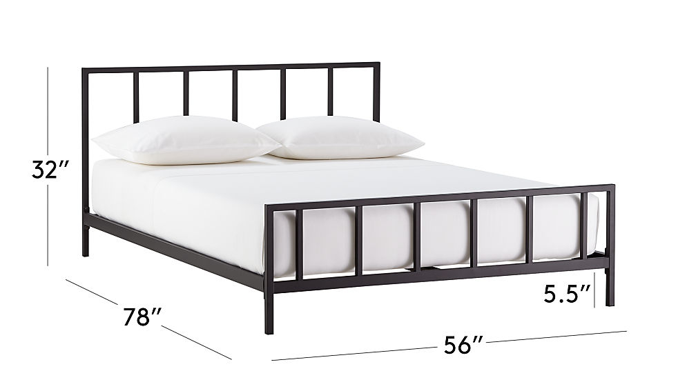 Image with dimension for Alchemy Matte Black Full Bed