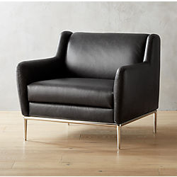 Delightful Alfred Black Leather Chair