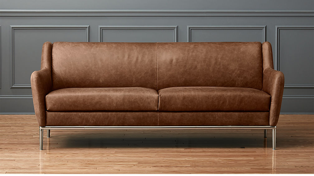 Alfred Distressed Brown Leather Sofa + Reviews | CB2