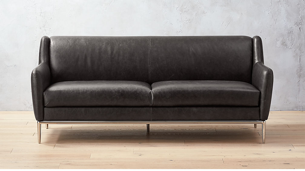 Alfred Black Leather Sofa + Reviews | CB2