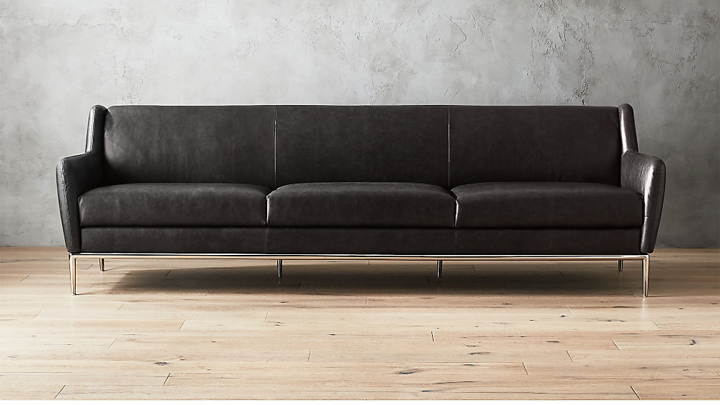 Alfred Extra Large Black Leather Sofa + Reviews | CB2