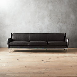 Alfred Extra Large Black Leather Sofa