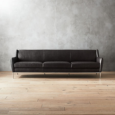 Alfred Extra Large Black Leather Sofa | CB2