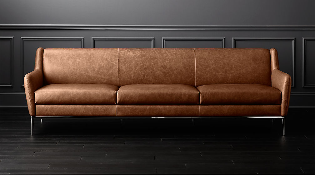 alfred extra large cognac leather sofa reviews cb2. Black Bedroom Furniture Sets. Home Design Ideas