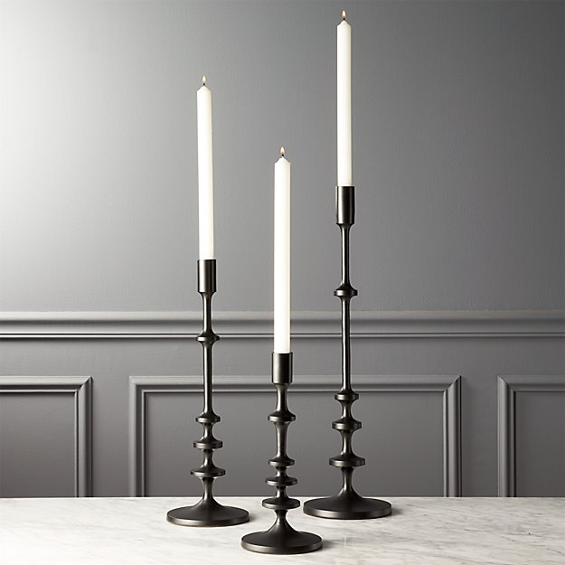 27d3405d07 Allis Black Taper Candle Holders Set of 3 + Reviews | CB2