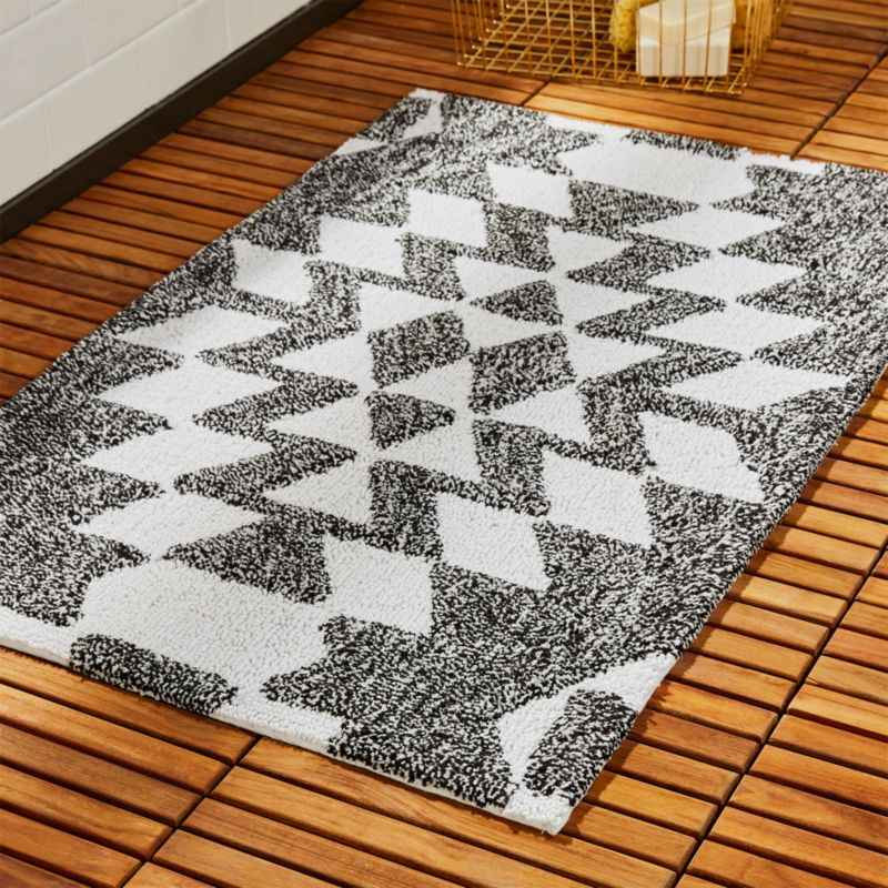 Alma Black And White Geometric Bath Mat + Reviews