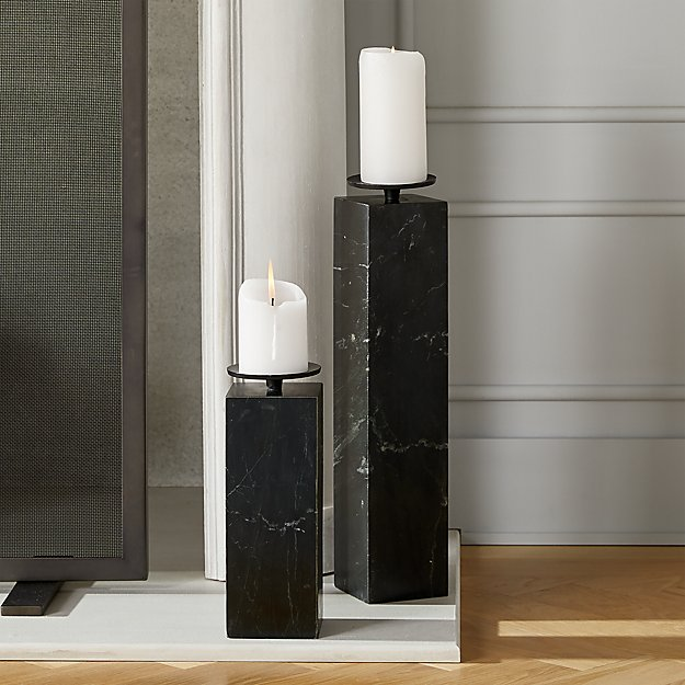 Amos Black Marble Pillar Candle Holders - Image 1 of 11