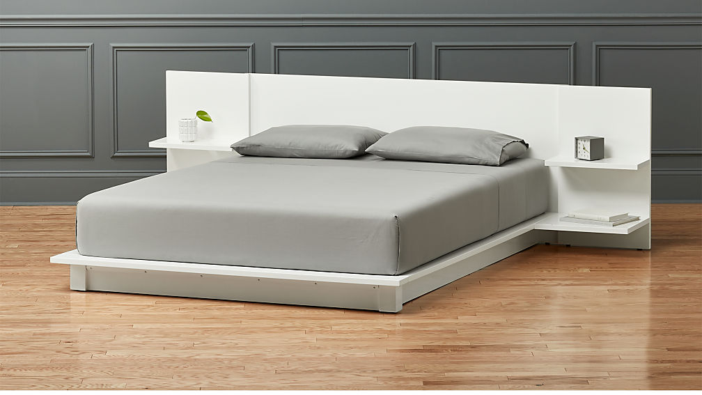 Queen Bed Frame With Storage.Andes White Queen Bed