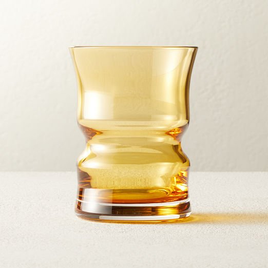Antoinette Vintage Amber Double Old-Fashioned Glass