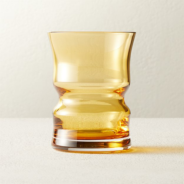 Antoinette Vintage Amber Double Old-Fashioned Glass - Image 1 of 7