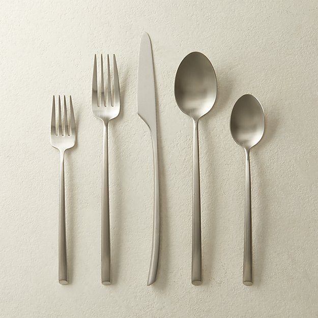5-Piece Arc Brushed Silver Flatware Set - Image 1 of 2