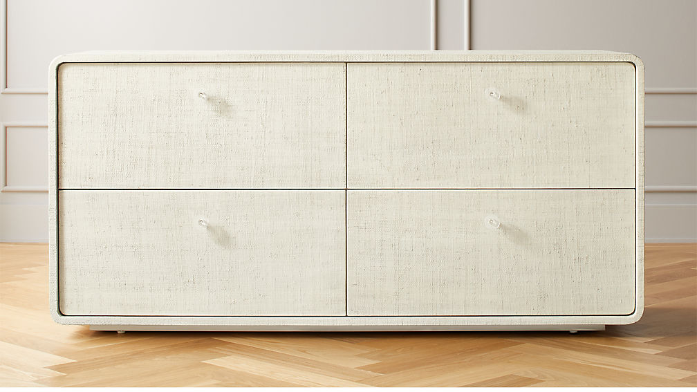 Archer Lacquered Linen Low Dresser - Image 1 of 8
