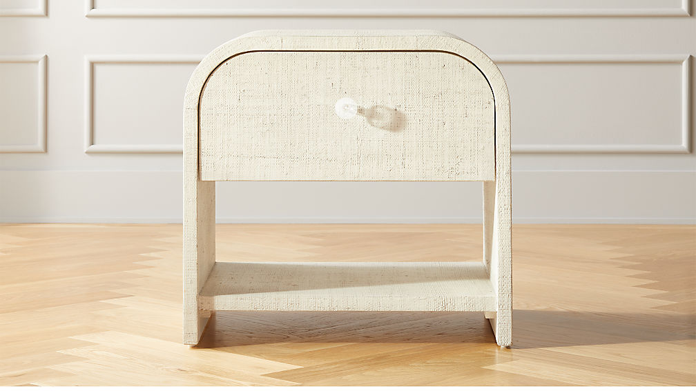 Archer Lacquered Linen Nightstand - Image 1 of 8