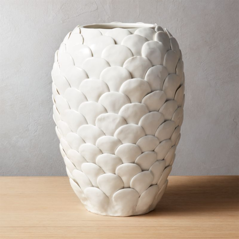 White Textured Vases Cb2