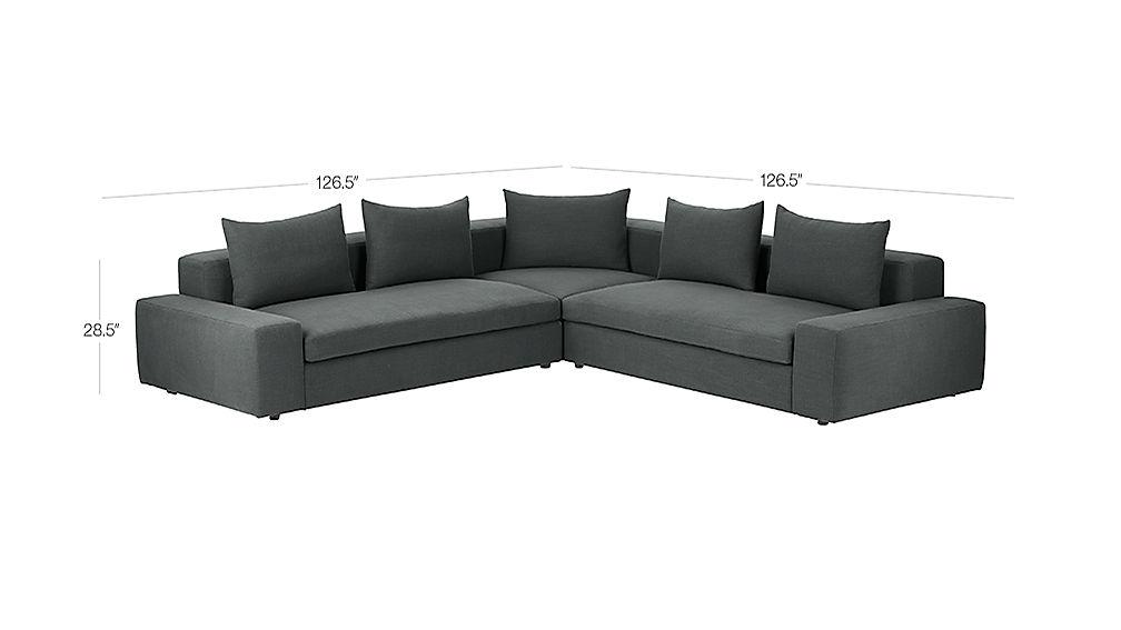 Arlo 3 Piece Iron Grey Wide Arm Sectional Sofa Reviews Cb2