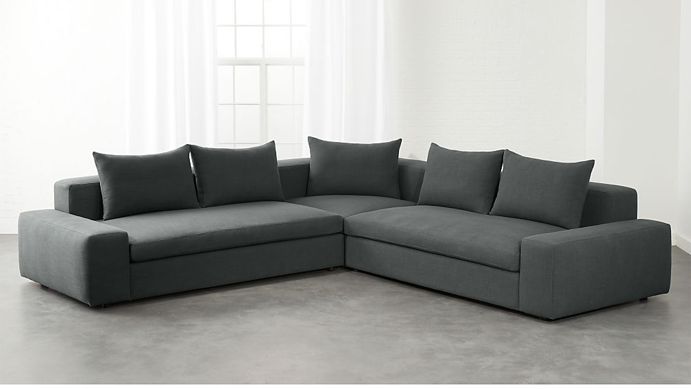 Arlo 3-Piece Iron Grey Wide Arm Sectional Sofa + Reviews | CB2