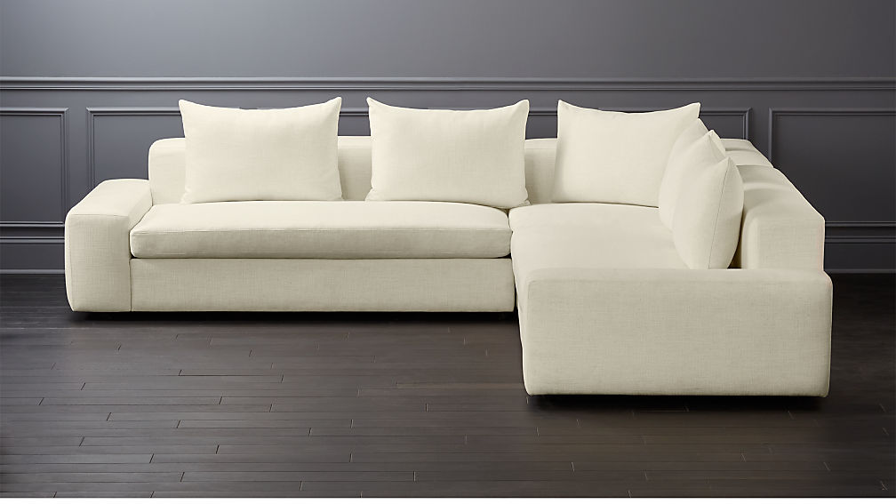 Arlo 3 Piece Snow Wide Arm Sectional Sofa Reviews Cb2