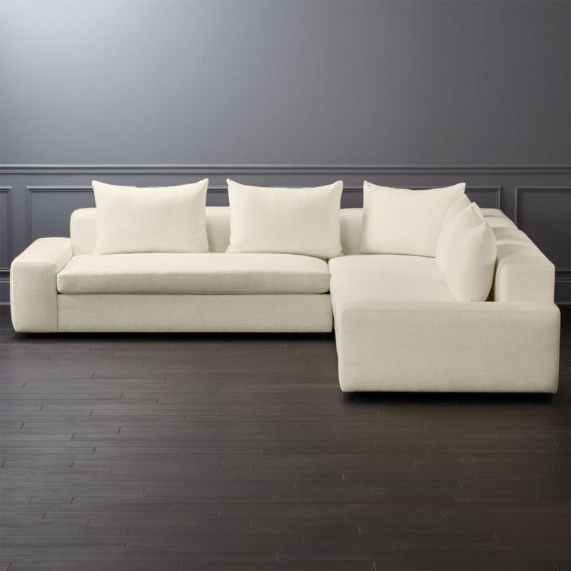 Arlo 3 Piece Snow Wide Arm Sectional Sofa