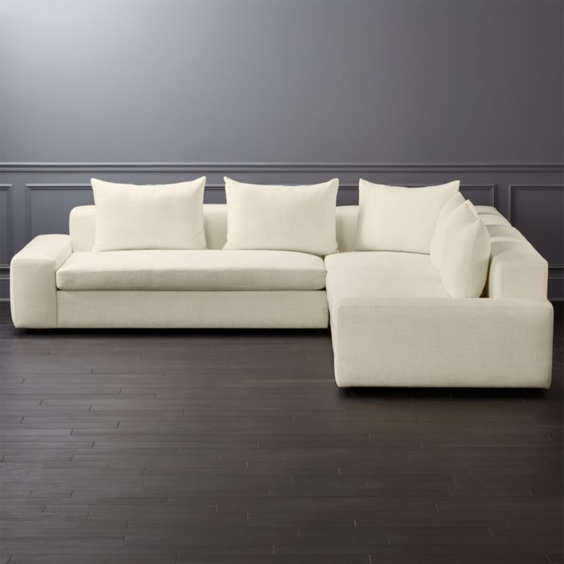 Arlo 3 Piece Snow Wide Arm Sectional Sofa