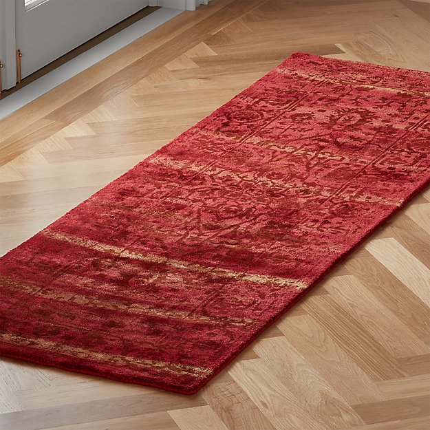 Atossa Faded Red Runner 2.5'x8' - Image 1 of 3