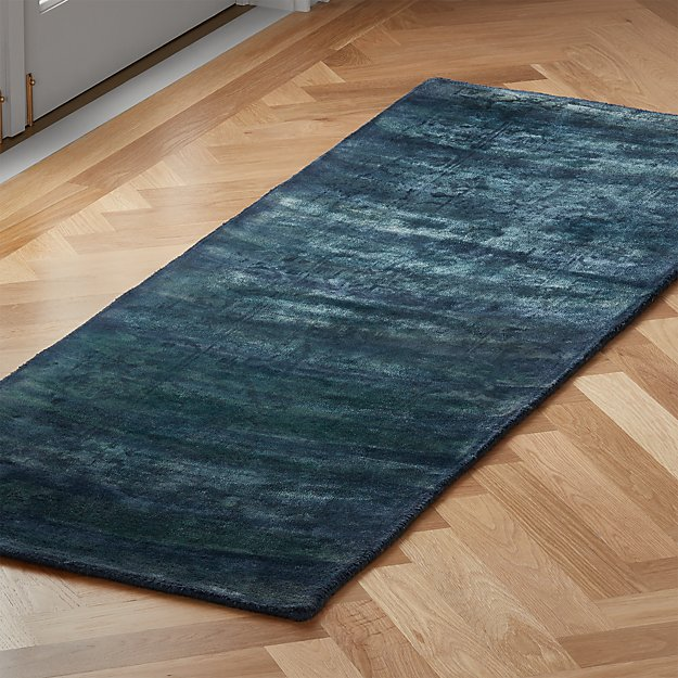 Atossa Faded Teal Runner 2.5'x8' - Image 1 of 3