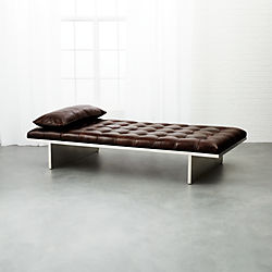 Atrium Tufted Dark Brown Leather Daybed