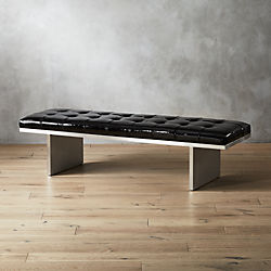 Atrium Tufted Black Patent Leather Bench